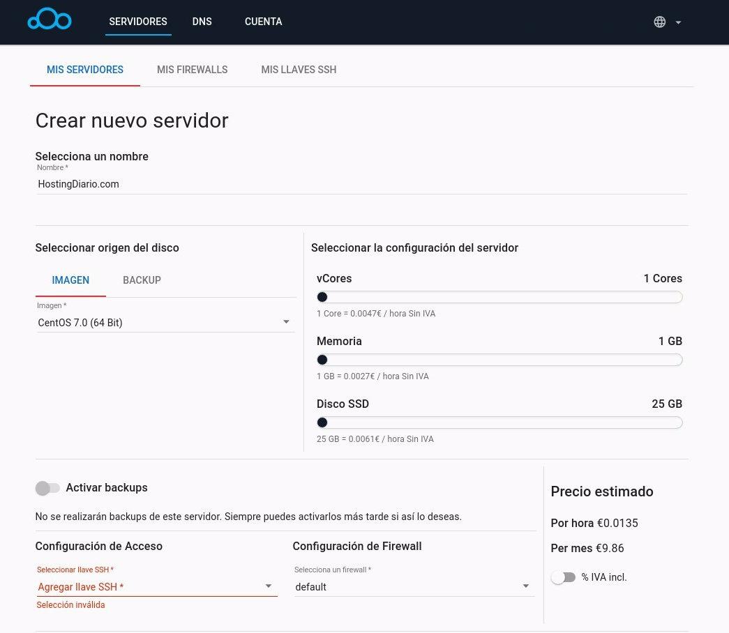 clouding area de cliente - 02 - crear servidor