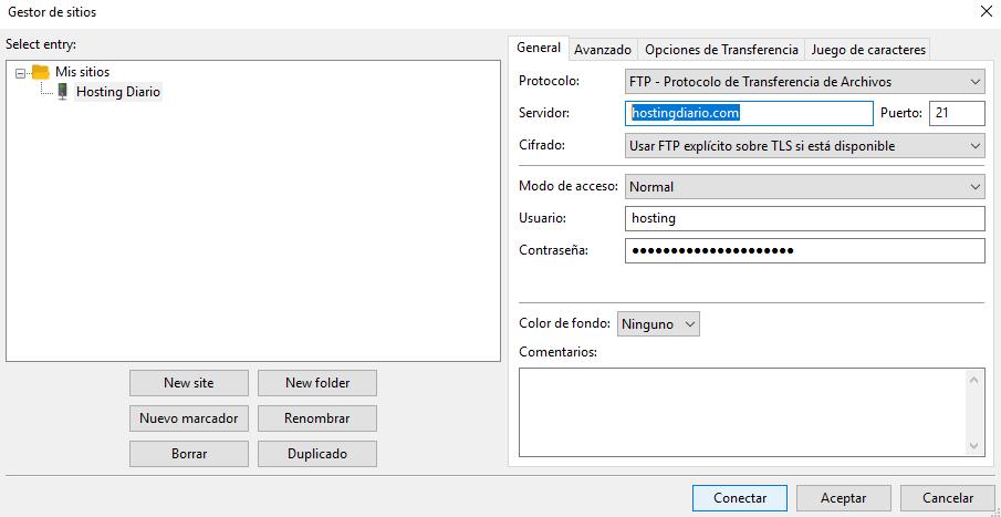 configuración de conexion contra un servidor FTP